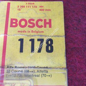 1178 SPAZZOLE TERGICRISTALLO PER ALFA ROMEO 2600 COUPÈ - 33 COUPÈ - ALFETTA - MONTREAL - MISURE 16 x 400 mm MARCA BOSCH ( RIF. CODICE 3398111178 - 884 ) FONDO DI MAGAZZINO 25896 - SCATOLA